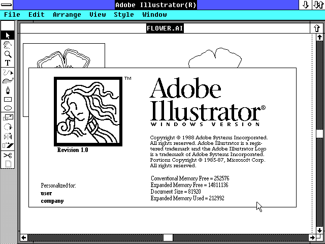 Adobe Illustrator 1.0 for Windows - About