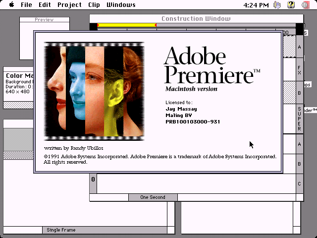 Adobe Premiere for Mac 1.0 - About
