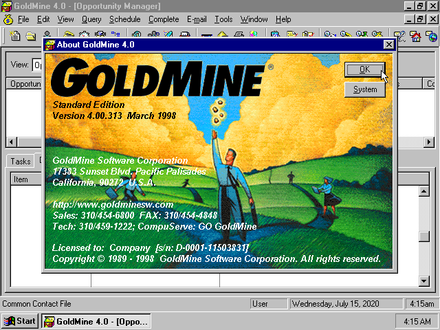 GoldMine 4.0 - About