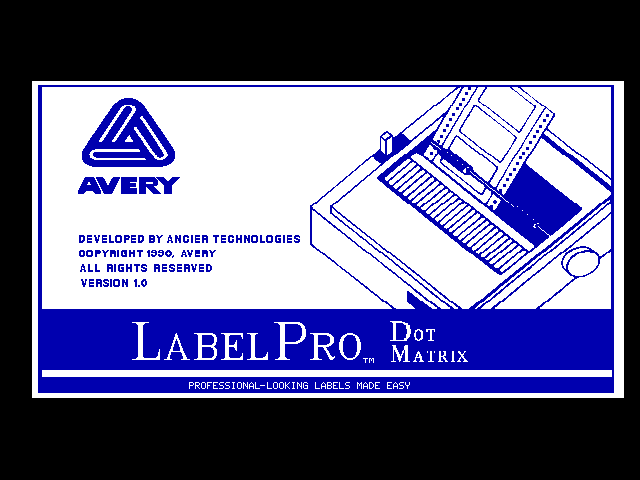 Avery LabelPro 1.0 - Splash