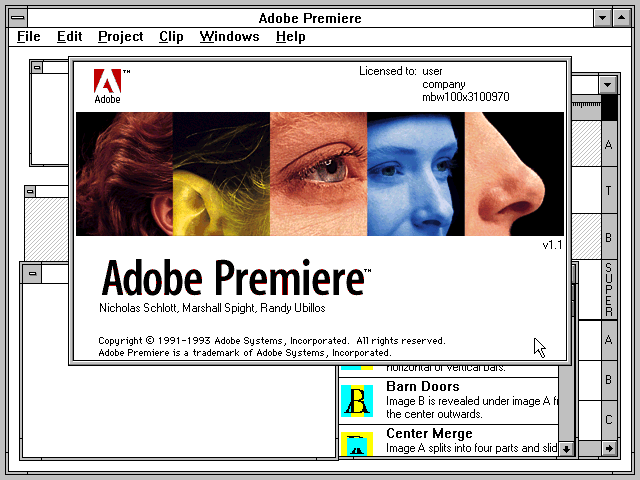 Adobe Premiere 1.1 for Windows