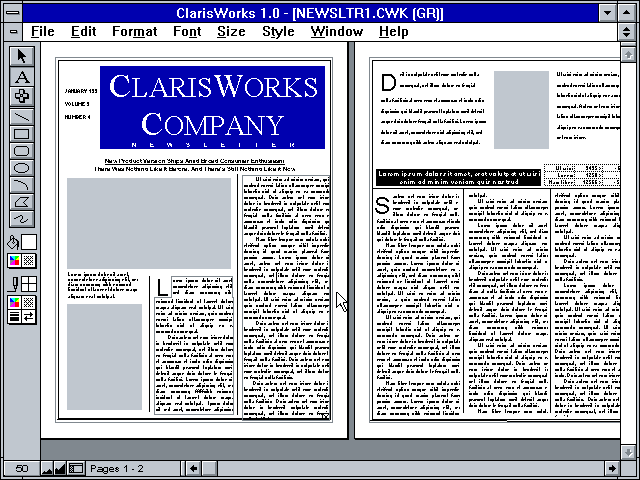 Claris Works 1.0 for Windows - Publishing