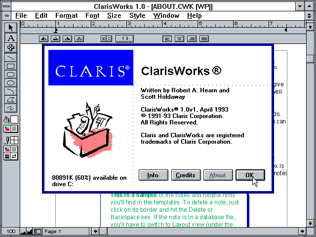 Claris Works 1.0 for Windows - About
