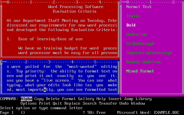 Microsoft Word 1.15 for DOS - Text