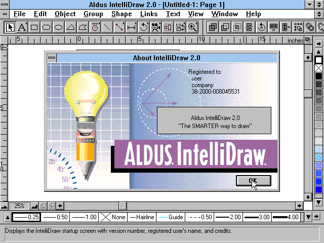 Aldus IntelliDraw 2.0 - Splash