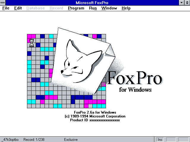 Foxpro 2.6a for Windows - Splash