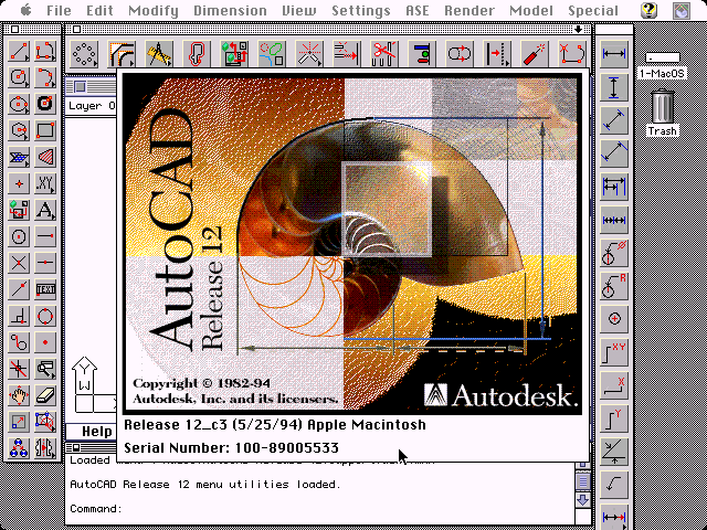 Autodesk AutoCAD 12 for Macintosh - About