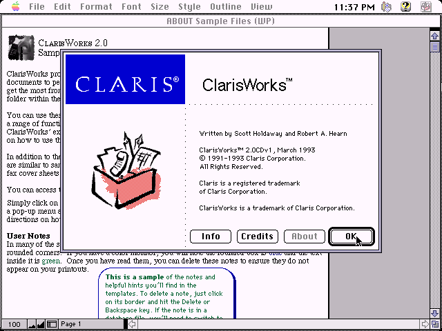 ClarisWorks 2.0 for Mac - About