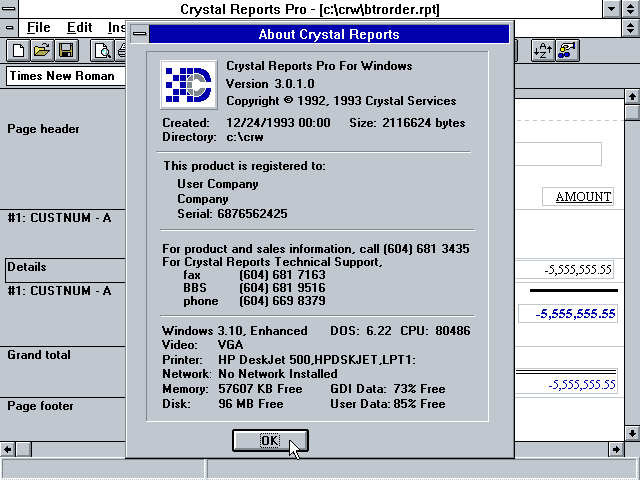 Crystal Reports Pro 3.0 - About