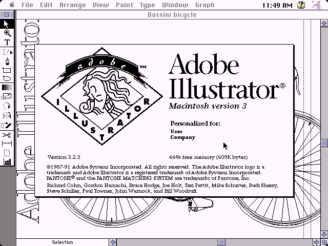Adobe Illustrator 3.2.3 for Mac - About