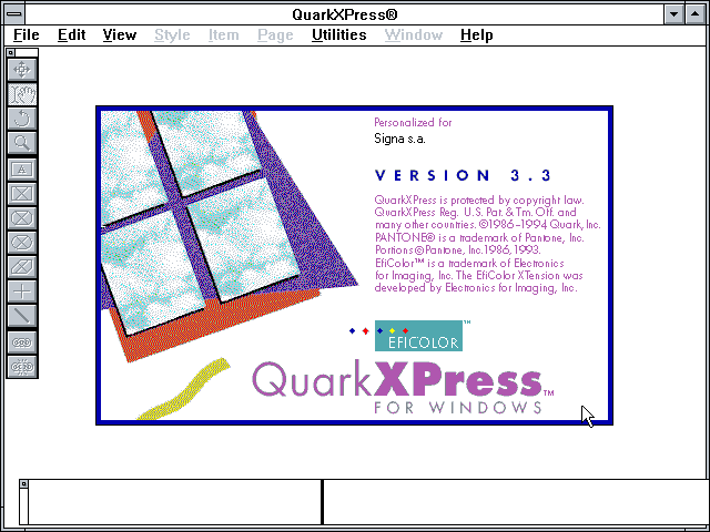 QuarkXPress 3.3 - About