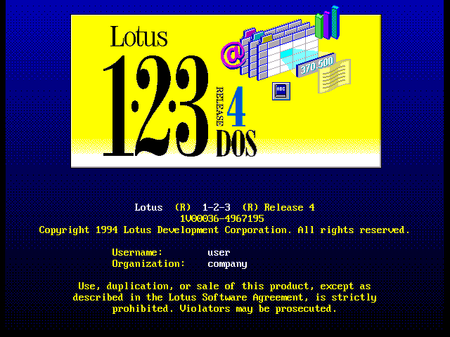 Lotus 123 4.0 for DOS - Splash