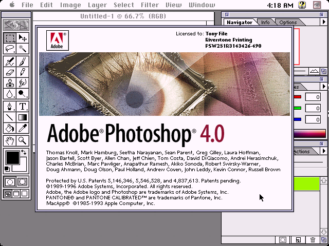 Adobe Photoshop 4 Mac - About