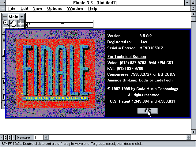 Finale 3.5.0r2 for Windows - About