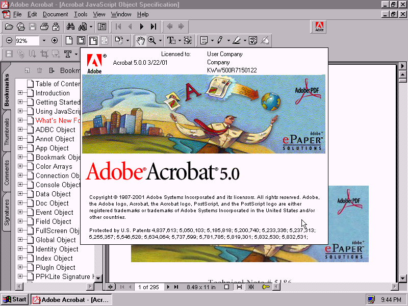 Adobe Acrobat 5 - About