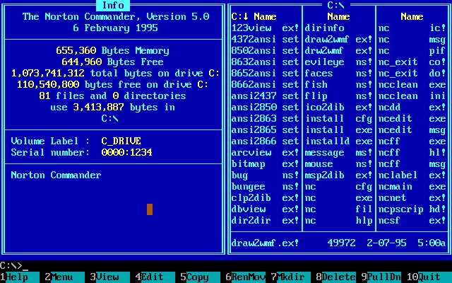 WinWorld: Norton Commander 5 x