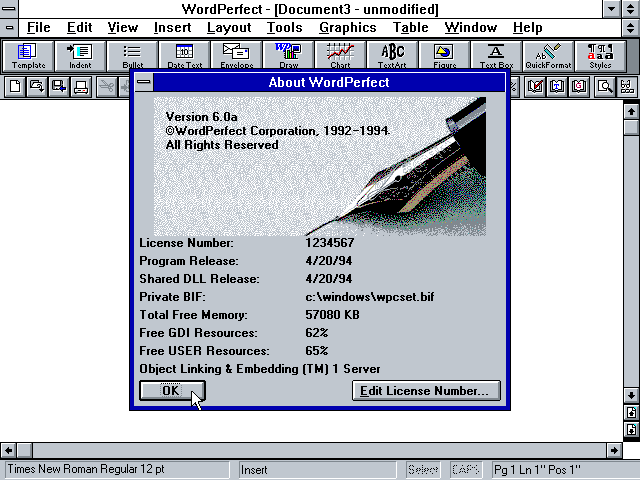WordPerfect 6.0a for Windows - About
