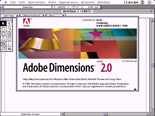 Adobe Dimensions 2.0 for Mac - Splash