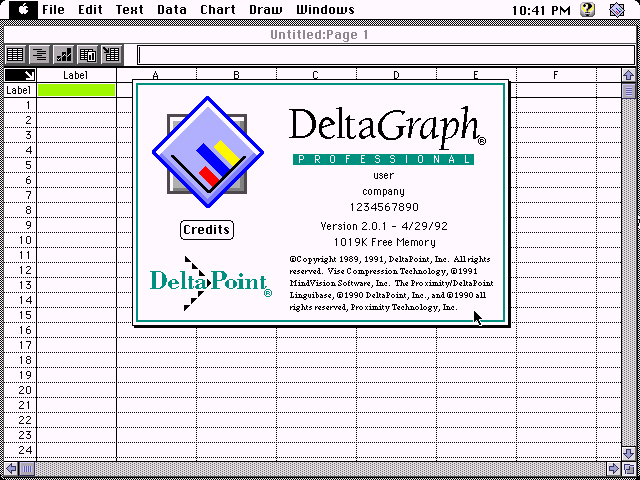 DeltaGraph 2.0.1 for Macintosh - About