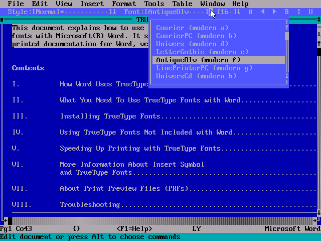 WinWorld: Microsoft Word 6 for DOS - Fonts