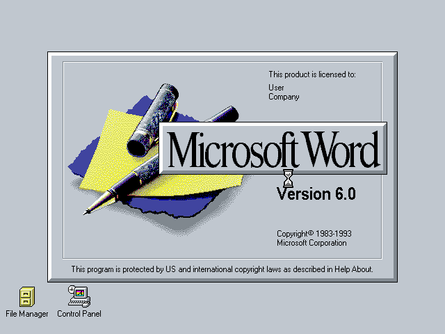 Microsoft Word 6 for Windows - Splash