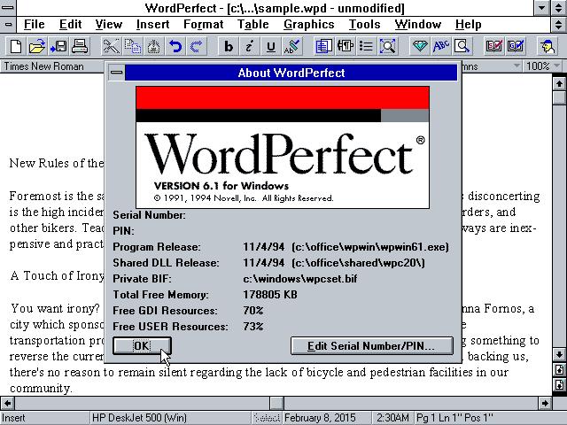 Winworld Wordperfect 6 1 Win