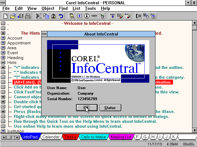 Corel Office Professional 6.1 for Windows 3.1 - InfoCentral