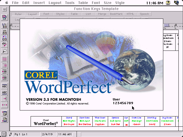 Corel WordPerfect 3.5 for Macintosh - About