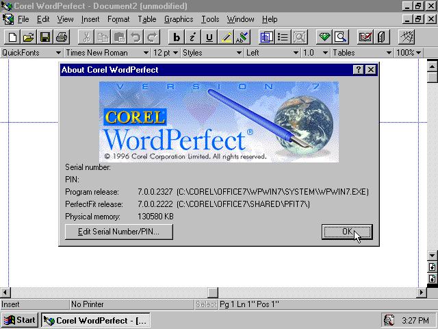 Winworld wordperfect 7x win corel wordperfect 70 for windows 95 splash freerunsca Image collections