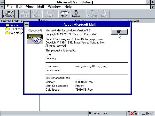 Microsoft Mail 3.2 - About