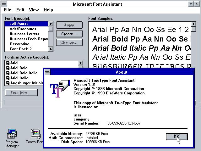 WinWorld: Microsoft TrueType Font Pack 2.0