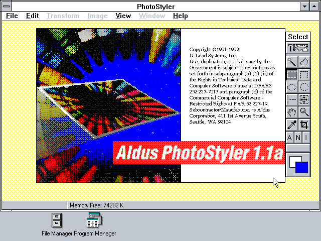 PhotoStyler 1.1a - About