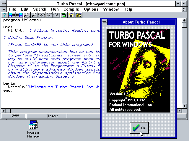 borland pascal pour windows 7