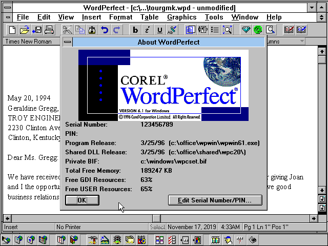 Corel Office Professional 6.1 for Windows 3.1 - WordPerfect