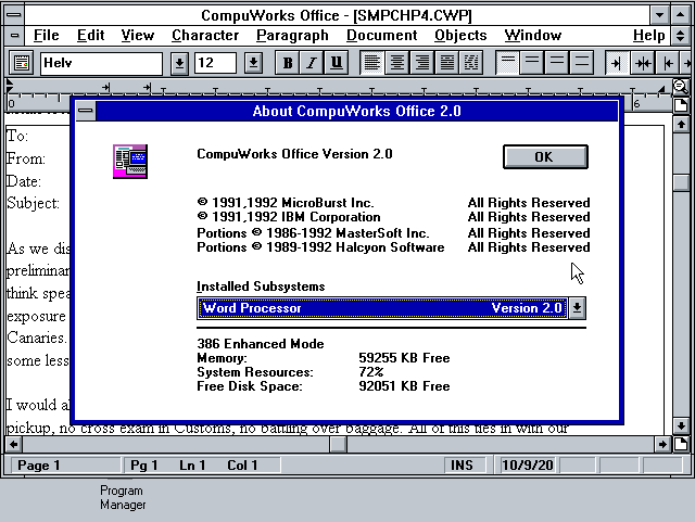 CompuWorks Office 2.0 - Word Processor