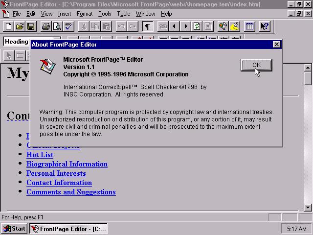 WinWorld Microsoft FrontPage 11
