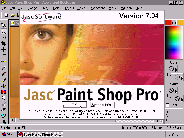 JASC Paint Shop Pro 7.04 - Splash.png
