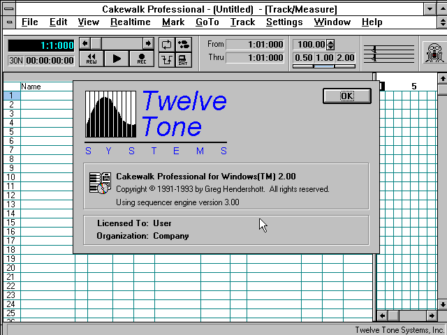Cakewalk Professional 2.00 for Windows - About
