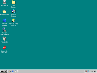 The blank desktop, in full colours