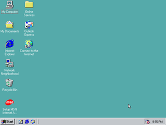 The blank desktop, in those ugly colours